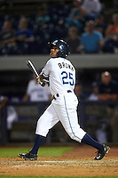 West Michigan Whitecaps left fielder Rashad Brown (25) at bat during a game against the Burlington Bees on July 25, 2016 at Fifth Third Ballpark in Grand Rapids, Michigan.  West Michigan defeated Burlington 4-3.  (Mike Janes/Four Seam Images)
