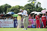 Rich Beem tees off the 10th hole during the World Celebrity Pro-Am 2016 Mission Hills China Golf Tournament on 22 October 2016, in Haikou, China. Photo by Marcio Machado / Power Sport Images
