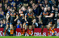 Picture by Allan McKenzie/SWpix.com - 23/03/2018 - Rugby League - Betfred Super League - Leeds Rhinos v Castleford Tigers - Elland Road, Leeds, England - Castleford celebrate James Clare's try against Leeds.