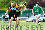 In Action Stacks Michael O'Donnell and David Mannix, St Kierans Shane Fitzmaurice at the Garveys Supervalu Senior County Football Championship - Round 1 Austin Stacks V St. Kierans at Connolly Park on Saturday