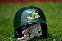 A Beloit Snapper batting helmet sits on the field prior to the Midwest League game between Clinton LumberKings and the Beloit Snappers at Ashford University Field on June 12, 2016 in Clinton, Iowa.  The LumberKings won 1-0.  (Dennis Hubbard/Four Seam Images)