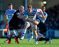 Bath Rugby's Sam Underhill in action during todays match<br /> <br /> Photographer Bob Bradford/CameraSport<br /> <br /> Premiership Rugby Cup - Exeter Chiefs v Bath Rugby - Sunday 24th March 2019 - Sandy Park - Exeter<br /> <br /> World Copyright © 2018 CameraSport. All rights reserved. 43 Linden Ave. Countesthorpe. Leicester. England. LE8 5PG - Tel: +44 (0) 116 277 4147 - admin@camerasport.com - www.camerasport.com