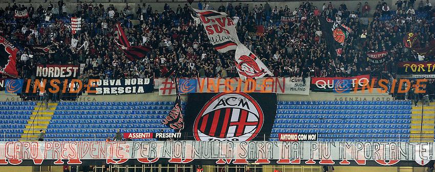Contestazione tifosi Milan. AC Milan Supporters protest against the sale of the club <br /> Milano 12-04-2015 Stadio Giuseppe Meazza - Football Calcio Serie A Milan - Sampdoria. Foto Giuseppe Celeste / Insidefoto