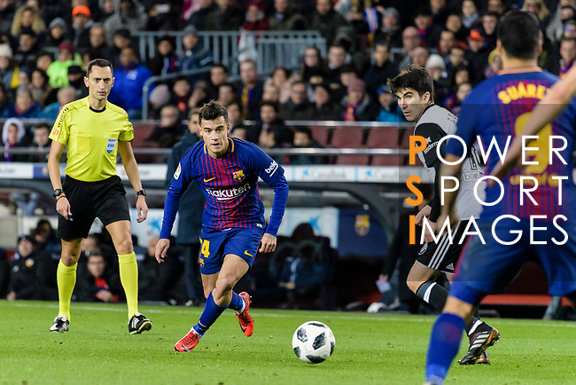 Philippe Coutinho of FC Barcelona in action during the Copa Del Rey 2017-18 match between FC Barcelona and Valencia CF at Camp Nou Stadium on 01 February 2018 in Barcelona, Spain. Photo by Vicens Gimenez / Power Sport Images