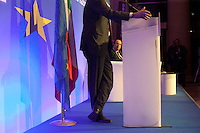 Roma: Francois Hollande, candidato alle presidenziali francesi del 2012, per il Partito Socialista, in visita a Roma.. .Rome: Francois Hollande, candidate for the 2012 French presidential election, during a a press conference at the 'Future of Europe' conference