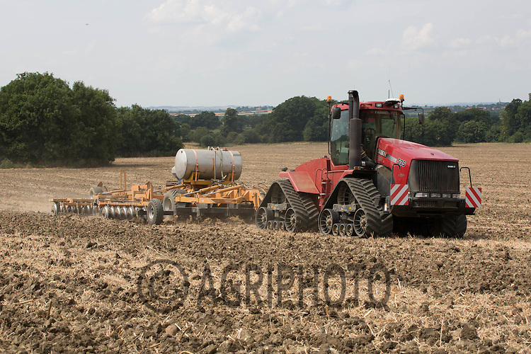 Case Quadtrac cultivating oilseed rape stubble in the Vale Of Belvoir <br /> Picture Tim Scrivener 07850 303986