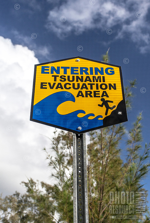 """Entering Tsunami Evacuation Area"" sign in Puna, Big Island."