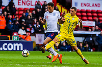 Everton's forward Dominic Calvert-Lewin (9) for England U21's  burst past Valencia CF Mestalla's defender Ivan Zotko (13) for Ukraine U21's  for the opening goal during the International Euro U21 Qualification match between England U21 and Ukraine U21 at Bramall Lane, Sheffield, England on 27 March 2018. Photo by Stephen Buckley / PRiME Media Images.
