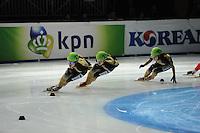 SCHAATSEN: DORDRECHT: Sportboulevard, Korean Air ISU World Cup Finale, 12-02-2012, Final B 1000m (2) Ladies, Yui Sakai JPN (132), Ayuko Ito JPN (131), Biba Sakurai JPN (134), ©foto: Martin de Jong