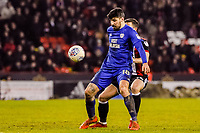 Cardiff City's midfielder Callum Paterson (18) holds up the ball during the Sky Bet Championship match between Sheff United and Cardiff City at Bramall Lane, Sheffield, England on 2 April 2018. Photo by Stephen Buckley / PRiME Media Images.