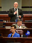 Nevada Assemblyman Randy Kirner, R-Sparks, speaks on the Assembly floor at the Legislative Building Carson City, Nev., on Wednesday, May 8, 2013..Photo by Cathleen Allison