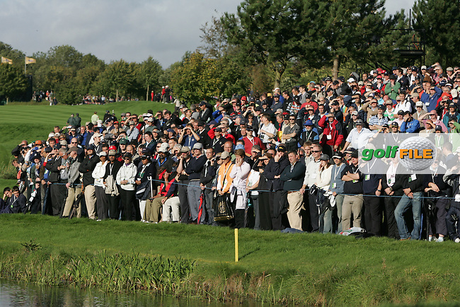 Straffin Co Kildare Ireland. K Club Ruder Cup...Thousands watch the European Ryder Cup team members Paul casey chiping onto the 6th green during the opening fourball session of the first day of the 2006 Ryder Cup, at the K Club in Straffan, Co Kildare, in the Republic of Ireland, 22 September 2006..Photo: Fran Caffrey/ Newsfile..