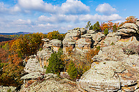 63895-16312 Camel Rock in fall color Garden of the Gods Recreation Area Shawnee National Forest IL