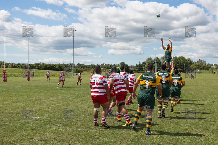 William Bond goes high at an early lineout. Counties Manukau Premier Counties Power Club Rugby game between Karaka and Pukekohe, played at the Karaka Sports Park on Saturday March 10th 2018. Pukekohe won the game 31 - 27 after trailing 5 - 20 at halftime.<br /> Photo by Richard Spranger.