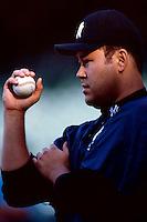 Hideki Irabu of the New York Yankees plays in a baseball game at Edison International Field during the 1998 season in Anaheim, California. (Larry Goren/Four Seam Images)