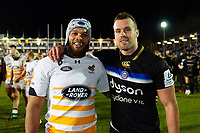 Nizaam Carr of Wasps and Michael van Vuuren of Bath Rugby poses for a photo after the match. Heineken Champions Cup match, between Bath Rugby and Wasps on January 12, 2019 at the Recreation Ground in Bath, England. Photo by: Patrick Khachfe / Onside Images