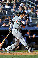 Apr 03, 2011; Bronx, NY, USA; Detroit Tigers catcher Victor Martinez (41) during game against the New York Yankees at Yankee Stadium. Tigers defeated the Yankees 10-7. Mandatory Credit: Tomasso De Rosa