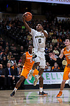 Brandon Childress (0) of the Wake Forest Demon Deacons drives to the basket during first half action against the Tennessee Volunteers at the LJVM Coliseum on December 23, 2017 in Winston-Salem, North Carolina.  The Volunteers defeated the Demon Deacons 79-60.  (Brian Westerholt/Sports On Film)