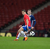 23rd March 2018, Hampden Park, Glasgow, Scotland; International Football Friendly, Scotland versus Costa Rica; Andy Robertson of Scotland and Cristian Gamboa of Costa Rica