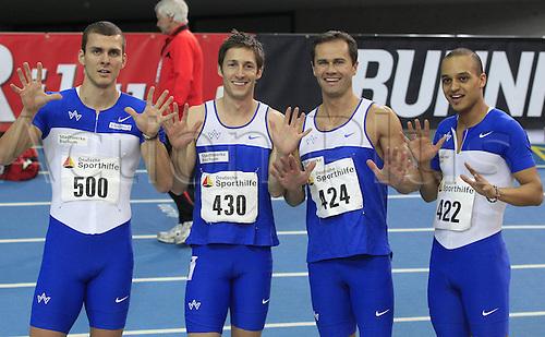 27 02 2011 Athletics German Indoor Championships Leipzig 26 27 02 2011 Leipzig 4x200m team TV Wattenscheid Sebastian Ernst Christian Blum Alexander Kosenkow Alwin Flohr