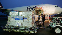 Slug: FedEx-Project Hope/Tsunami Relief.Date: 01-06-2005.Photographer: Mark Finkenstaedt .Location: Dulles International Airport, Dulles, Virginia.Caption: A collaborative relief effort by FedEx and Project Hope airlift medical of antibiotics and other supplies to Tsunami victims in Southeast Asia.