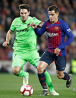 FC Barcelona's Philippe Coutinho (r) and Levante UD's Vukcevic during La Liga match. April 27,2019. (ALTERPHOTOS/Acero)<br /> <br /> Bacellona - Levante <br /> Liga Campionato Spagna 2018/2019<br /> Foto Alterphotos / Insidefoto <br /> ITALY ONLY
