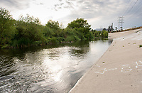 The Los Angeles River, near the Bowtie Project in the Glendale Narrows section, April 22, 2015.<br /> (Photo by Marc Campos, Occidental College Photographer)