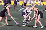 Santa Barbara, CA 02/18/12 - Jessica Dresser (UC Davis #21), Alex Mead (Colorado State #22) and Caroline Freyschlag (Colorado State #9) in action during the UC Davis - Colorado State game at the 2012 Santa Barbara Shootout.  Colorado State defeated UC Davis 10-9.