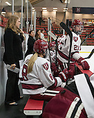 Laura Bellamy (Harvard - Assistant Coach), Jessica Harvey (Harvard - 21) - The Harvard University Crimson defeated the visiting Boston University Terriers 3-1 on Friday, November 22, 2013, at Bright-Landry Hockey Center in Cambridge, Massachusetts.