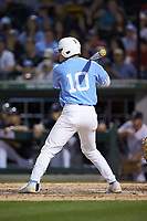 Zack Gahagan (10) of the North Carolina Tar Heels at bat against the South Carolina Gamecocks at BB&T BallPark on April 3, 2018 in Charlotte, North Carolina. The Tar Heels defeated the Gamecocks 11-3. (Brian Westerholt/Four Seam Images)