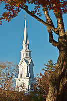 Church spire, Castine, Maine, USA