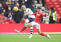 Preston North End's Tom Clarke battles with  Nottingham Forest's Matty Cash<br /> <br /> Photographer Mick Walker/CameraSport<br /> <br /> The EFL Sky Bet Championship - Nottingham Forest v Preston North End - Saturday 8th December 2018 - The City Ground - Nottingham<br /> <br /> World Copyright © 2018 CameraSport. All rights reserved. 43 Linden Ave. Countesthorpe. Leicester. England. LE8 5PG - Tel: +44 (0) 116 277 4147 - admin@camerasport.com - www.camerasport.com