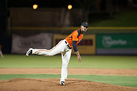 AZL Giants relief pitcher Olbis Parra (72) follows through on a pitch during a game against the AZL Angels on July 10, 2017 at Scottsdale Stadium in Scottsdale, Arizona. AZL Giants defeated the AZL Angels 3-2. (Zachary Lucy/Four Seam Images)
