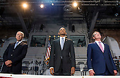 United States President Barack Obama (C), Vice President Joe Biden (L) and Secretary of Defense Ashton Carter stand during President Obama's Armed Forces Full Honor Review Farewell Ceremony at Joint Base Myers-Henderson Hall, in Virginia on January 4, 2017. The five braces of the military honored the president and vice-president for their service as they conclude their final term in office. <br /> Credit: Kevin Dietsch / Pool via CNP