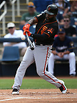 San Francisco Giants' Denard Span hits in a spring training game against the Milwaukee Brewers in Phoenix, AZ, on Thursday, March 23, 2017.<br /> Photo by Cathleen Allison/Nevada Photo Source
