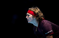 Alexander 'Sascha' ZVEREV (Germany) during the NITTO ATP World Tour Finals round robin match between Marin Cilic and Alexander Zverev at the O2, London, England on 12 November 2017. Photo by Andy Rowland.