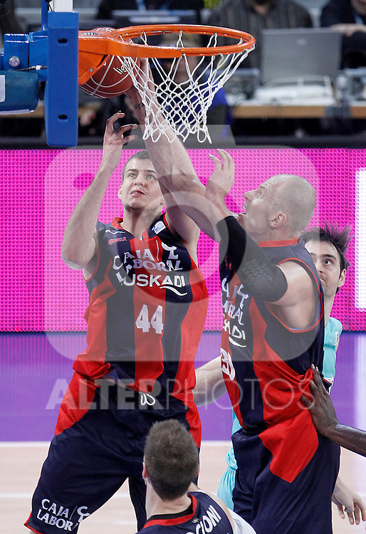 Caja Laboral Baskonia's Nemanja Bjelica (l) and Maciej Lampe during Spanish Basketball King's Cup semifinal match.February 07,2013. (ALTERPHOTOS/Acero)