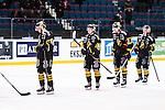 Stockholm 2014-01-18 Ishockey SHL AIK - F&auml;rjestads BK :  <br /> AIK:s Fredrik Hynning , AIK:s Dennis Nordstr&ouml;m oxh AIK:s Brett Carson deppar efter matchen<br /> (Foto: Kenta J&ouml;nsson) Nyckelord:  depp besviken besvikelse sorg ledsen deppig nedst&auml;md uppgiven sad disappointment disappointed dejected