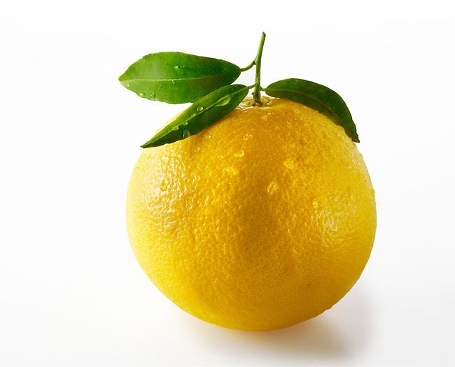 Fresh grapefruit with laeves