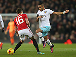 Dimitri Payet of West Ham United skips past Michael Carrick of Manchester United during the English League Cup Quarter Final match at Old Trafford  Stadium, Manchester. Picture date: November 30th, 2016. Pic Simon Bellis/Sportimage