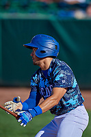 Zac Ching (25) of the Ogden Raptors at bat against the Idaho Falls Chukars at Lindquist Field on August 9, 2019 in Ogden, Utah. The Raptors defeated the Chukars 8-3. (Stephen Smith/Four Seam Images)