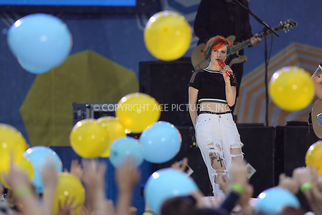 WWW.ACEPIXS.COM<br /> June 13, 2014 New York City<br /> <br /> Hayley Williams of the band Paramore performs on ABC's 'Good Morning America' at Rumsey Playfield on June 13, 2014 in New York City.<br /> <br /> Please byline: Kristin Callahan/AcePictures<br /> <br /> ACEPIXS.COM<br /> <br /> Tel: (212) 243 8787 or (646) 769 0430<br /> e-mail: info@acepixs.com<br /> web: http://www.acepixs.com