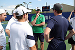 DURHAM, NC - APRIL 14: Notre Dame head coach Ryan Sachire (center) talks to his players before singles. The Duke University Blue Devils hosted the University of Notre Dame Fighting Irish on April 14, 2017, at Ambler Tennis Stadium in Durham, NC in a Division I College Men's Tennis match. Duke won the match 4-3.