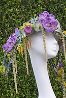 Hat Made from Orchid Flowers & Plants designed by Jane Benefield, Henley College, England