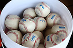 WINSTON-SALEM, NC - JUNE 04: A bucket of NCAA tournament baseballs. The West Virginia University Mountaineers played the University of Maryland Terrapins on June 4, 2017, at David F. Couch Ballpark in Winston-Salem, NC in NCAA Division I College Baseball Tournament Winston-Salem Regional Game 5. West Virginia won the game 8-5.