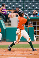Isaac Galloway #27 of the Greensboro Grasshoppers follows through on his swing versus the Kannapolis Intimidators at NewBridge Bank Park June 20, 2009 in Greensboro, North Carolina. (Photo by Brian Westerholt / Four Seam Images)