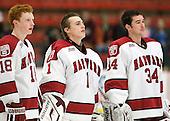 Mike Seward (Harvard - 18), Connor Riley (Harvard - 1), Steve Michalek (Harvard - 34) - The Harvard University Crimson defeated the visiting Colgate University Raiders 4-2 on Saturday, November 12, 2011, at Bright Hockey Center in Cambridge, Massachusetts.