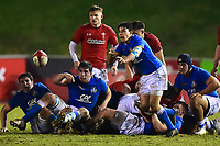 Italy U20's Nicolo Casilio releases the ball<br /> <br /> Photographer Richard Martin-Roberts/CameraSport<br /> <br /> Six Nations U20 Championship Round 4 - Wales U20s v Italy U20s - Friday 9th March 2018 - Parc Eirias, Colwyn Bay, North Wales<br /> <br /> World Copyright &not;&copy; 2018 CameraSport. All rights reserved. 43 Linden Ave. Countesthorpe. Leicester. England. LE8 5PG - Tel: +44 (0) 116 277 4147 - admin@camerasport.com - www.camerasport.com