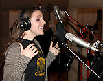 Jessie Mueller recording the 2012 Original Broadway Cast Recording of 'The Mystery of Edwin Drood' at the KAS Music & Sound Studios in Astoria, New York on December 10, 2012