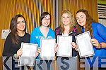 Clodagh Boyle(Abbeyfeale), Lisa Murphy(Templeglantine), Rachel Duffy(Mountcollins) and Lisa Dalton(Abbeyfeale) who received their Leaving Certificate from Colaiste Ide agus Iosef, Abbeyfeale last Wednesday